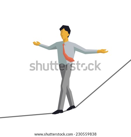 Businessman walking on rope and keep himself balance. Vector illustration character design in cubic and simple style.