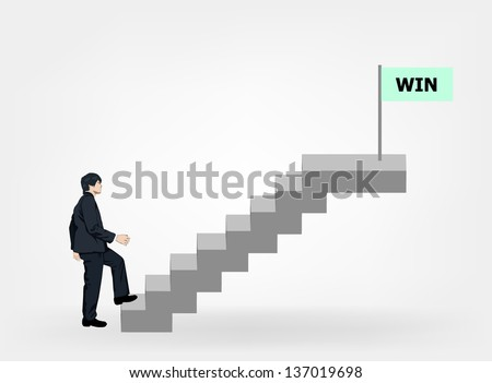 Businessman walking stair