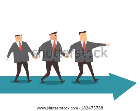 Businessman walking together with teamwork on arrow, going to the same direction.
