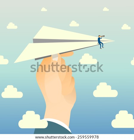 Businessman watching through telescope sitting on paper plane that hold with big-hand. - stock vector