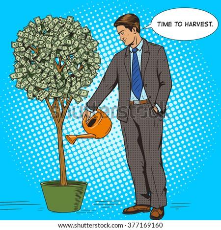Businessman water money tree pop art style vector illustration. Human illustration. Comic book style imitation. Vintage retro style. Conceptual illustration - stock vector