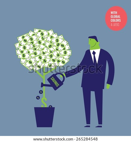 Businessman watering a money plant with coins. Vector illustration Eps10 file. Global colors&layers. - stock vector