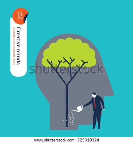Businessman watering a tree brain. Vector illustration Eps10 file. Global colors. Text and Texture in separate layers. - stock vector