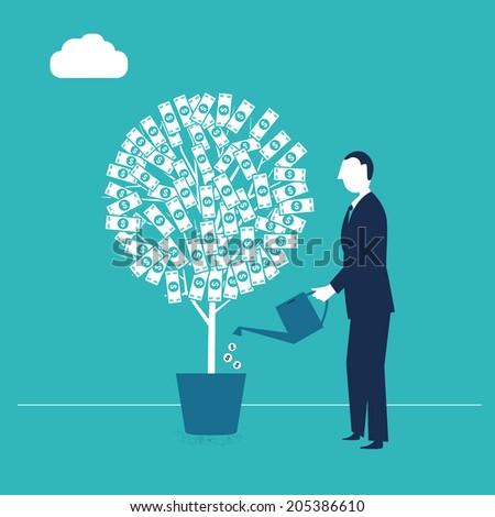 Businessman watering his money tree - stock vector