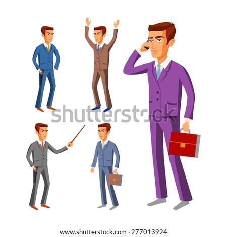 Businessman wearing suits vector businessman male illustration suit art - stock vector