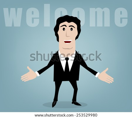 businessman welcomes you on a blue background - stock vector