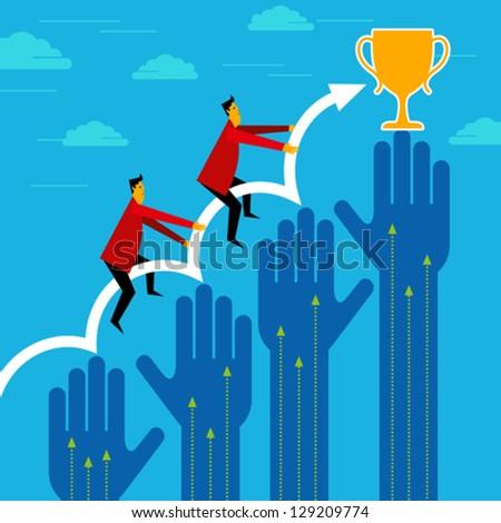 businessman winner - Breakthrough concept - stock vector