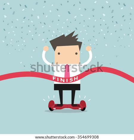 Businessman Winner on Self-balancing electric scooter vector - stock vector