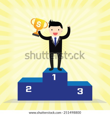 Businessman winner standing in first place on a podium holding up trophy - stock vector