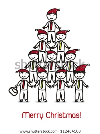 businessman wit christmas hat, christmas card. vector illustration