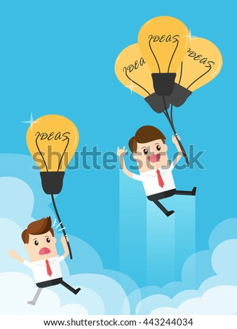 businessman with a lot of light bulb ideas flying pass rival with less than idea. business competition - stock vector