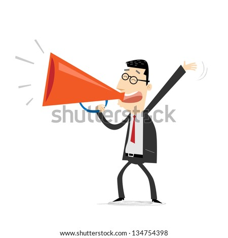 Businessman with a loudspeaker - stock vector