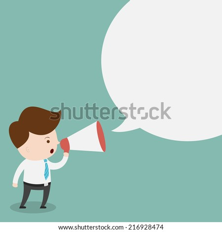 Businessman with a megaphone and blank bubble chat. - stock vector