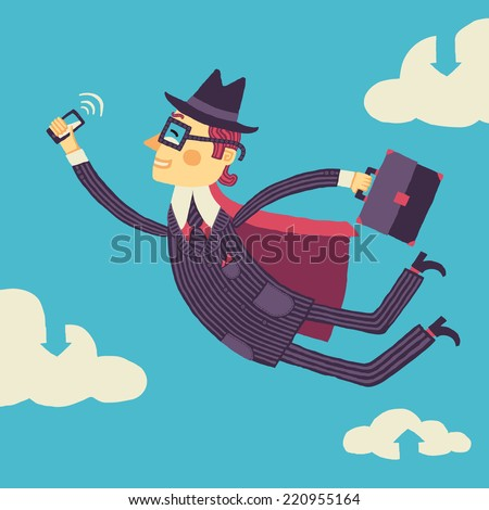 Businessman with a smartphone in hand flies through the cloud storage - stock vector