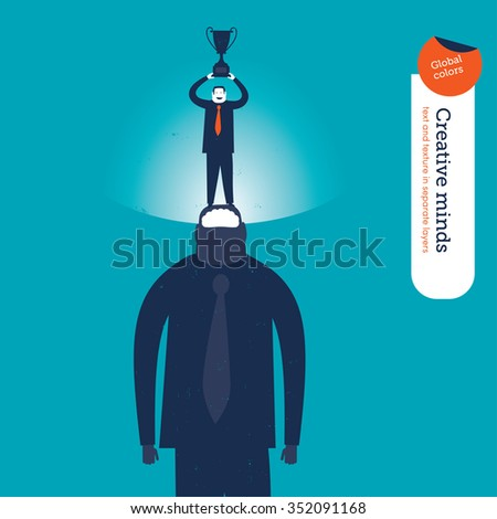 Businessman with a super mind winning trophees. Vector illustration Eps10 file. Global colors. Text and Texture in separate layers. - stock vector