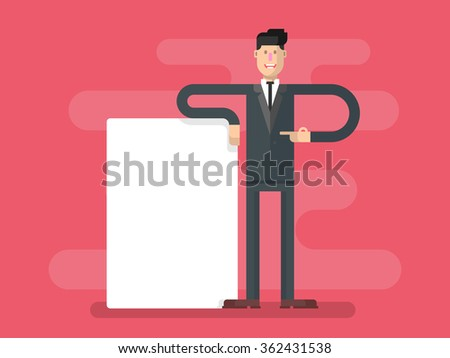 Businessman with advertising - stock vector
