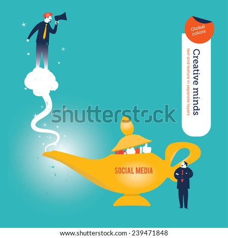 Businessman with aladdin's genie and megaphone. Vector illustration Eps10 file. Global colors. Text and Texture in separate layers.  - stock vector