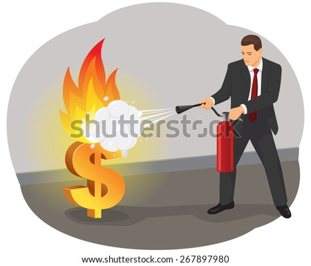 Businessman with an extinguisher is fighting with the burning dollar sign - stock vector