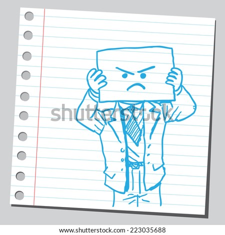 Businessman with angry face on paper - stock vector