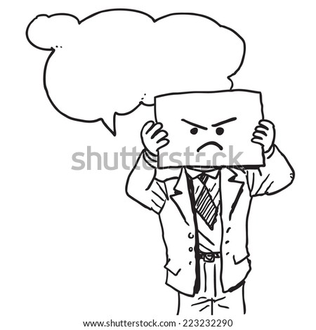 Businessman with angry face on paper speaking something - stock vector