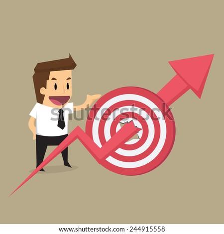 businessman with arrow on through target.vector - stock vector