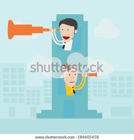 Businessman with binoculars spying on competitors  - stock vector