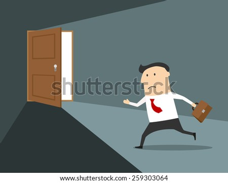 Businessman with briefcase running to the exit, cartoon flat style, for any business concept - stock vector