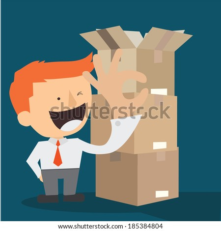businessman with brown cardboard - stock vector