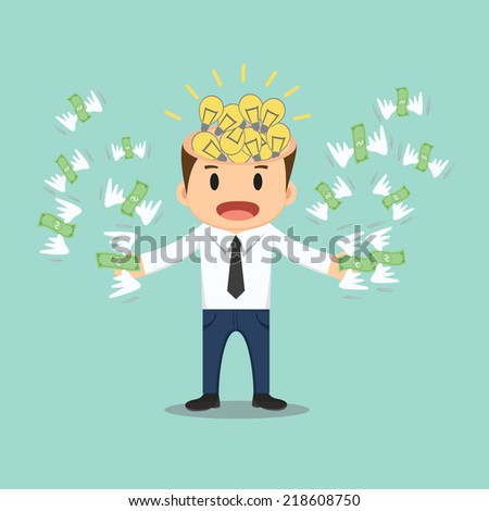 Businessman with bulb idea head flying money in hand vector illustration  - stock vector