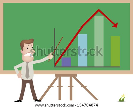 businessman with chart - stock vector