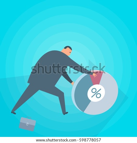 Businessman with chart diagram. Grow business and finance flat concept illustration. Man rolls round diagram. Business strategy, investment, wealth, management and marketing vector design element.