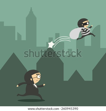 Businessman with chasing a thief - stock vector