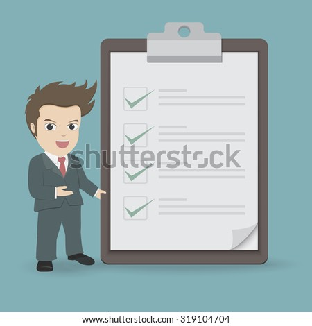 Businessman with clipboard and checklist. - stock vector