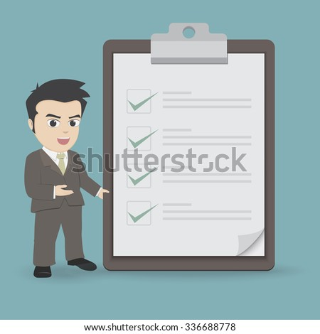 Businessman with clipboard and checklist paper. - stock vector