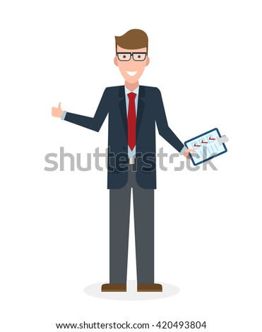 Businessman with clipboard and thumb up on white background. Isolated character. Businessman holding clipboard. Concept of supply, planning, agree, approve.