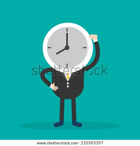 Businessman with clock on head. vector illustration