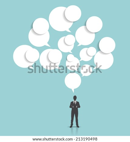 Businessman with cloud of bubble speech. Vector illustration. - stock vector
