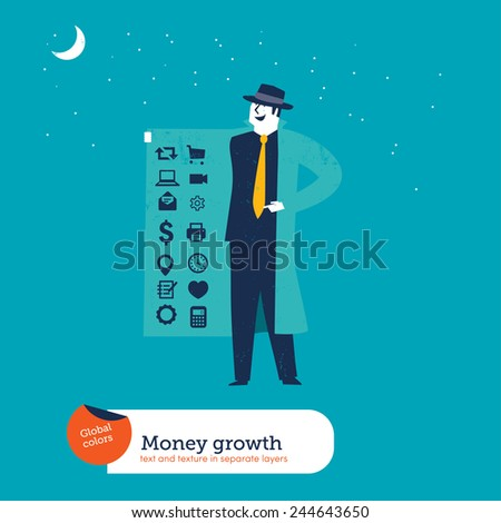 Businessman with coat and hidden icons. Vector illustration Eps10 file. Global colors. Text and Texture in separate layers. - stock vector