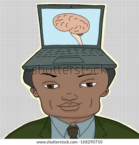 Businessman with computer brain in laptop on head - stock vector