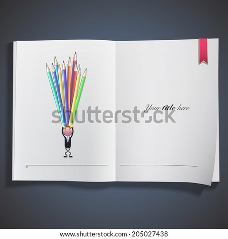 Businessman with crayons printed on book - stock vector