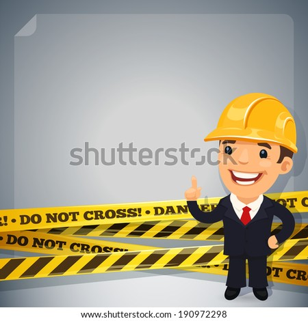 Businessman With Danger Tapes. In the EPS file, each element is grouped separately. Isolated on white background.