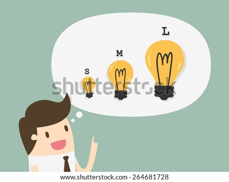 Businessman with different sizes of idea - stock vector