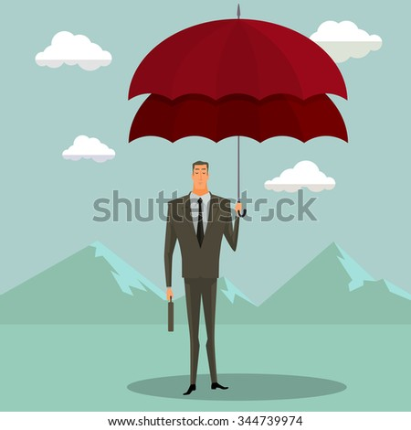 Businessman with double umbrella simple shades of blue, Business Concepts Insurance Agency. Vector illustration modern style.