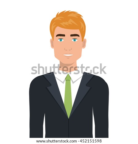 vector cartoon character man suit tie stock vector