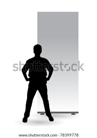 Businessman with empty roll up - stock vector