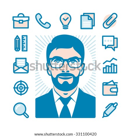 Businessman with Fat Line Icons. Modern minimalistic flat design, elements of office supplies, business conceptions, work tools - stock vector