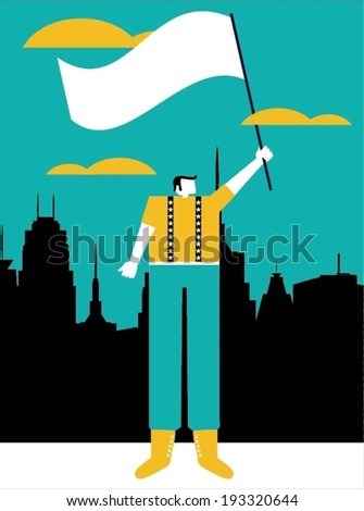 Businessman with flag - stock vector