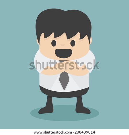 Businessman with folded arms - stock vector