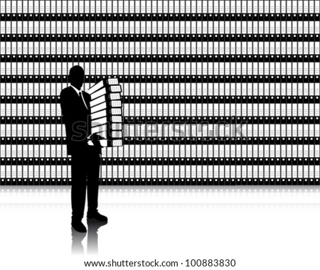 businessman with folders - stock vector