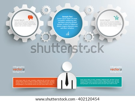 Businessman with gears, banner and speech bubble on the gray background. Eps 10 vector file. - stock vector